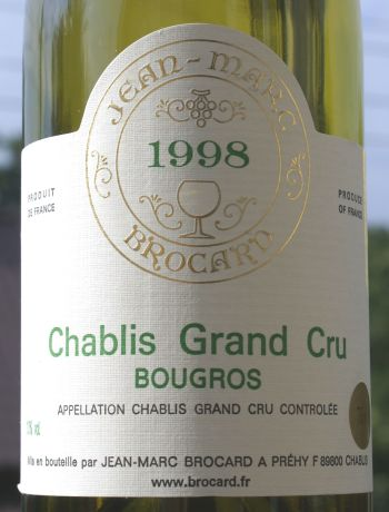 Jean-Marc Brocard Chablis Grand Cru Bougros 1998