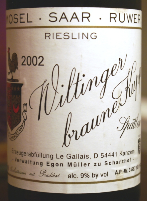 Le Gallais Riesling Wiltinger Braune Kupp Spätlese 2002
