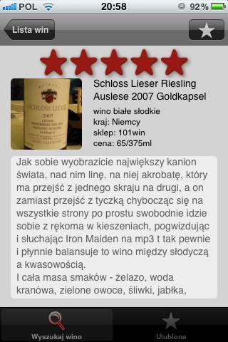 Do Trzech Dych aplikacja iPhone Schloss Lieser Auslese